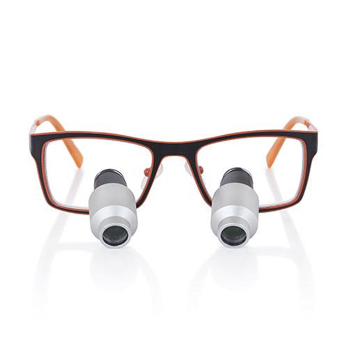 Montura Jazz naranja para lupas binoculares 4.0x