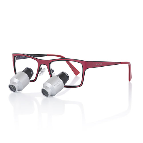 Montura de lupas binoculares para dentistas Morriz roja