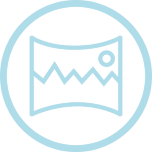 Icono de profundidad de campo para la elección de lupas binoculares